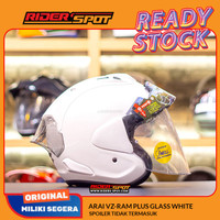 Helm Motor ARAI VZ-Ram Plus Glass White Half Face Helmet Sun Visor