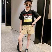 Setelan baju crop celana hotpants gaya Korean anak perempuan import - White. 120