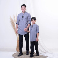 baju couple anak dan ayah model cina/couple koko pakistan - abu abu,M