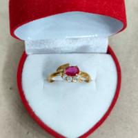 cincin mata 3 putih merah 1 gram emas muda