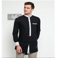 Baju Muslim Pria Koko JAMIL Bahan Cotton Toyobo Adem Lengan Panjang - Hitam, S