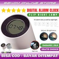 Jam Weker Alarm Digital Lampu Tidur LED - Digital Alarm Clock Flip - Putih