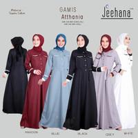 BAJU GAMIS Wanita Muslim Katun Putih Hitam Polos Dress Atthania Jhn