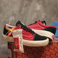 Sepatu Pria Kets Vans Old Skool OG Import Quality Termurah - Merah Hitam, 38