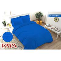Full Set Bedcover Fata Polos Emboss Queen 160 Karet Warna Marline Blue