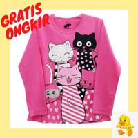 Baju/ kaos anak lengan panjang motif cat/kucing 1-10 tahun - 1-2 tahun