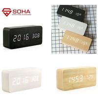 JD-03 Jam Meja Motif Kayu Digital Led Weker / Desain Wood Alarm LED