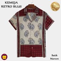 LM 22443 - 22449 Baju Atasan Kemeja Wanita RETRO BLUS Motif BATIK