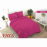 Full Set Bedcover Fata Polos Emboss Queen 160 Karet Warna Dubbary Pink