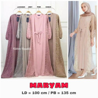 Dress Gamis Brukat Rok Renda Pakaian Muslim Wanita Lebaran Pesta Murah - Abu / Grey, MARYAM