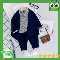 baju setelan kemeja anak laki laki 3in1 vegas blazer+ celana 4-8 tahun