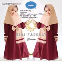 Farelly Hijab Anak Baju Gamis anak Terbaru murah kekinian - Merah, S