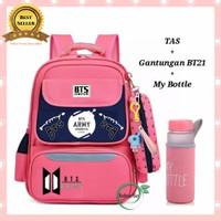 Tas Sekolah Wanita Backpack Anak Perempuan BTS Army Bonus BT21 Botol