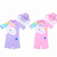 Baju Renang One Piece Anak Perempuan unicorn Lucu Import + Topi