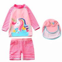 Baju Renang Anak Perempuan Unicorn Swimsuit Set Topi - pink