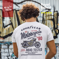 Kaos Royal Enfield Caferacer Motorcycle Goodyear Classic Motor Bikers - L