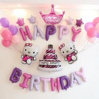 Cuci Gudang! Hello Kitty Set Dekorasi UNGU- Ulang tahun Anak- Balon Fo