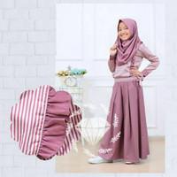 baju muslim anak perempuan set celana ceribelle katun usia 8 -11 tahun