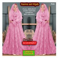 Set Hijab dan Gamis Anak Perempuan Umur 8 9 10 tahun Baju Kekinian