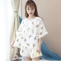 Baju Tidur Wanita Setelan Rumah Santai Import Celana Pendek Ice Cream