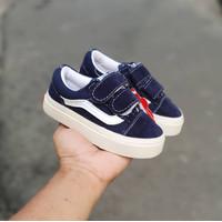 Sepatu Anak Balita Vans Bayi Oldskool Velcro Navy 0-2 Tahun