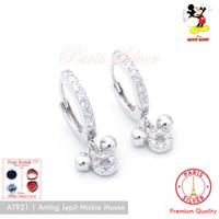 Anting Jepit mickey mouse perak 925 silver lapis emas putih mickie