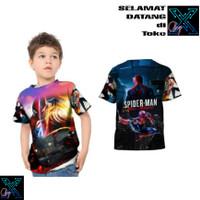 Baju Kaos Spiderman Homecoming Marvel Miles Morales 3D Anak 1-10 Tahun - 01, S