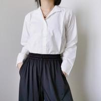 Baju atasan kemeja wanita cewek lengan panjang putih polos bahan katun