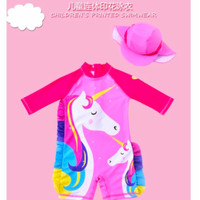 Baju Renang anak Perempuan OnePiece +Topi Double Unicorn Pink import