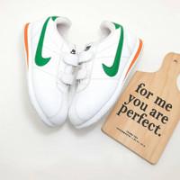 sepatu sneakers anak kids nike cortez putih hijau prepetan velcro