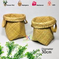 Bakul Cover Pot Purun Natural (Ukuran L) Harga Grosir