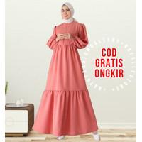 Gamis Aufa Busui Maxi Dress Lengan Balon Fashion Muslim