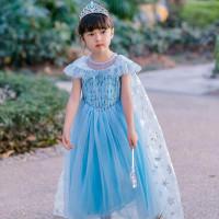 Lea Frozen Anna Elsa Terbaru Disney Princess Kostum Impor Dress Baju P - 150