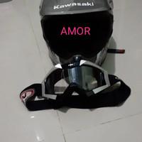 helm kawasaki set kacamata klx 150 cc