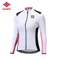 SANTIC L8C01093 Women Cycling Long Jersey - Baju Sepeda Wanita - WHITE