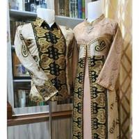 Gamis batik songket kombinasi brokat