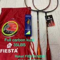 NEW! Raket Badminton FIESTA FS Break Free 555 Full Carbon taiwan 35lbs - FS 555 ORANGE, RAKET+TAS+GRIP