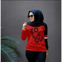Baju Sweat Tshirt Zolaqu Atasan Fashion Blouse Lengan Panjang Wanita