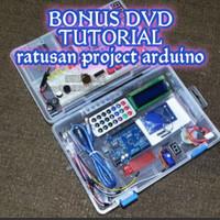 PAKET STARTER KIT ARDUINO UNO R3 DIP BUKAN CLONE BONUS DVD TUTORIAL