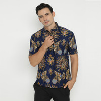 Enzy Batik Shirt Mahisa Short Sleeve - Blue