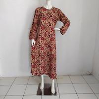 baju gamis wanita batik allsize motif bunga busui friendly - Orange