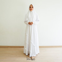 Gamis Syari Dilla Putih - Idaman Fashion - Baju Muslim Wanita