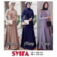 Baju Muslim Dress Gamis Abaya Brukat Lace Wanita Lebaran Pesta Seragam