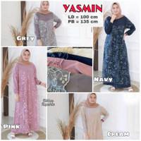 Dress Gamis Abaya Syari Brukat Renda Baju Muslim Wanita Lebaran Pesta