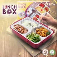 Tempat Makan Siang Lunch Box Stainless Steel FREE Sendok dan Garpu