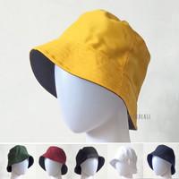 Topi BUCKET HAT Polos Dewasa Pria Wanita All Size Bahan Drill 2 Sisi