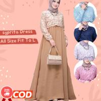 Baju Gamis Murah Meriah SGPRITA Model Terbaru 2021 Kekinian Dress Casu - mocca