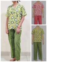 baju tidur/piyama wanita motif little owl celana panjang kerah batik - hijau sabrina, S