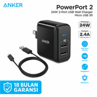 Wall Charger Anker PowerPort 2 & 3ft/0.9m Micro USB - B2141