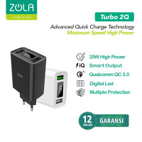 ZOLA Turbo 2Q Gen2 Smart Led Quick Charge 3.0 Dual Output USB Charger - Putih